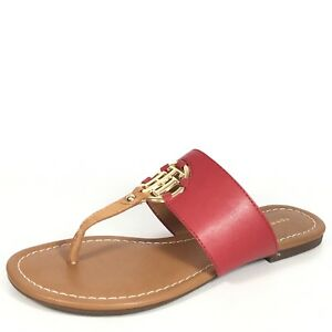 5aacdca61d843 Tommy Hilfiger Sia Womens Size 6 M Red Thong Slide Flat Sandals.