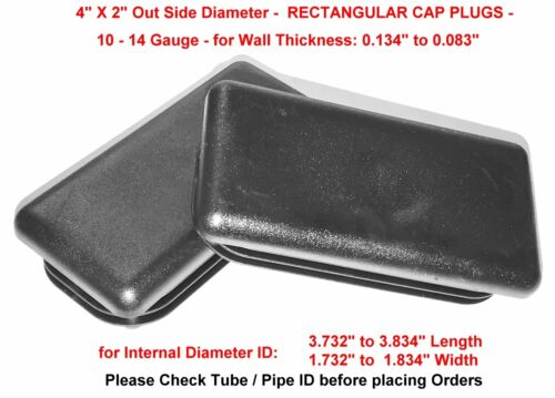 "2/"" x 4/"" Rectangular TUBING End Cap Plugs LDPE Flex RidgesMulti Gauge n Qty."