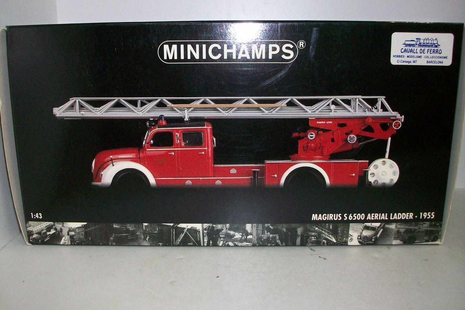 1 43 MINICHAMPS - MAGIRUS S 6500 AEREA AEREA AEREA SCALETTA -1955 POMPIERI 1f5391