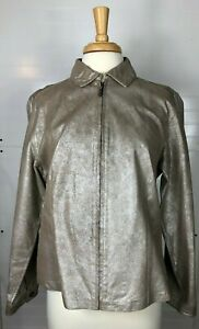 Chico's Women's Light 100% Genuine Leather Jacket Size 2 Brushed Metallic color
