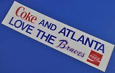 COCA COLA COKE ADESIVO USA 1980er sticker decal-Baseball Atlanta Braves