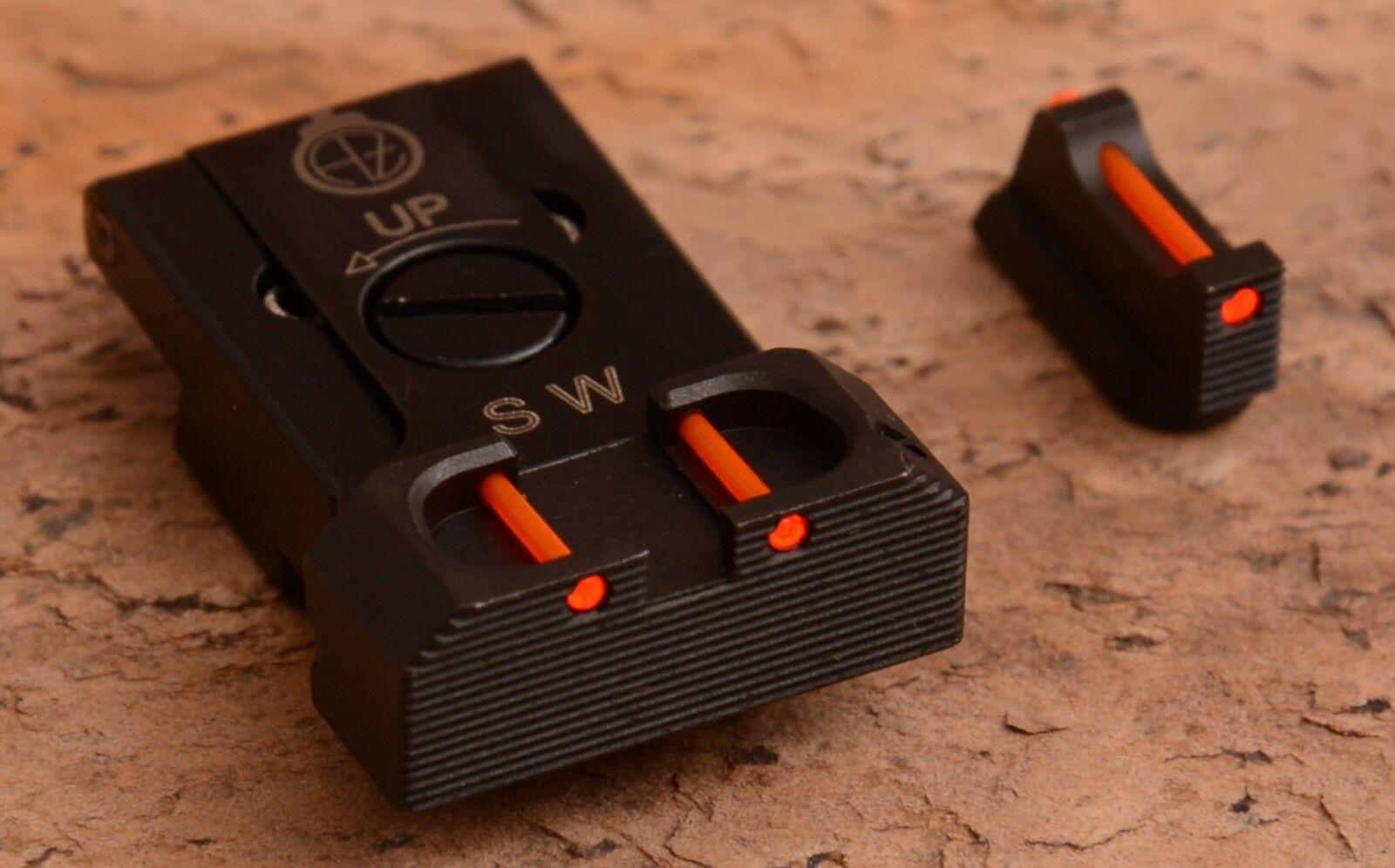 Conjuntos de vista trasera ajustable con fibra óptica para CZ 75 SP-01 CZ Shadow 2-Rojo
