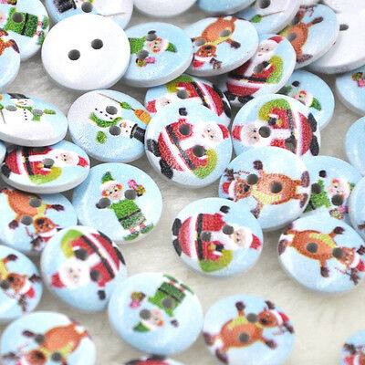 New 10/50/100/500pcs Mix Merry Christmas Wood Buttons 15mm Sewing Craft Mix Lots