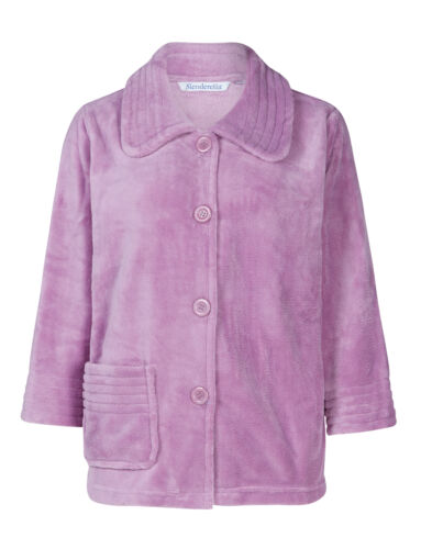 2 of 11 Slenderella Womens Button Up Soft Fleece Bed Jacket Peter Pan Collar  Housecoat 71de6df09