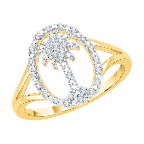 Diamond Palm Tree Circle of Life Ring in 10k Gold 1//8 cttw, J-K, SI2-I1