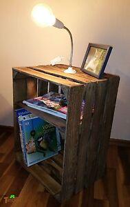 nachttisch aus obstkiste mit lampe beistelltisch kiste schrank kommode rustikal ebay. Black Bedroom Furniture Sets. Home Design Ideas