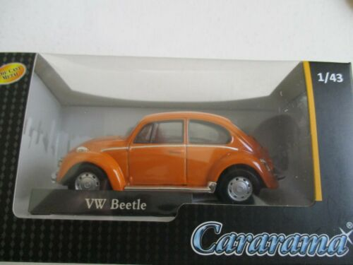 MINIATURE VOLKSWAGEN COX VW BEETLE ORANGE CARARAMA       1//43