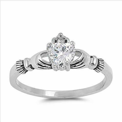 * Tienda de Reino Unido 925 Plata Diamante Imitación PLT Claddagh abril Anillo de piedra manos Girl
