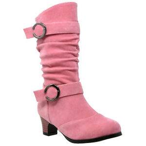 e6172aa5bb98 Kids Mid Calf Boots Double Buckle Zip Close High Heel Shoes Gray ...