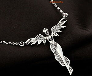 18k-White-Gold-Plated-Clear-Crystal-Women-039-s-Flying-Angle-Necklace-N75