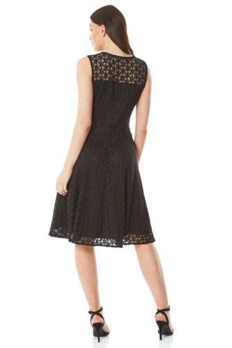Web Lace Fit and Flare Dress Evening Sleeveless Roman Originals Womens