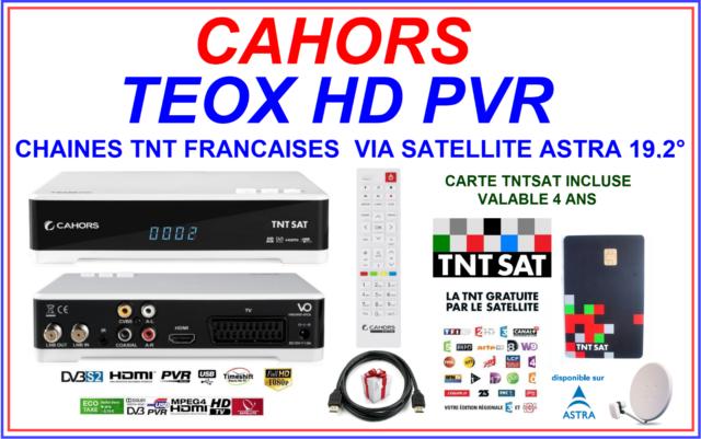 DÉCODEUR + CARTE TNTSAT CAHORS TEOX HD PVR CHAINES TNT FRANCAISES VIA SATELLITE