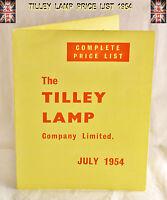 Tilley Lamp Complete Price List 1954 Leaflet