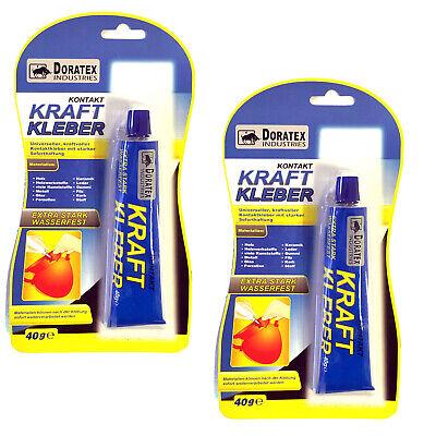 (6,61€/100g) 2x 40g Kontakt Kraft Kleber Extra Stark Wasserfest Holz Metall #004