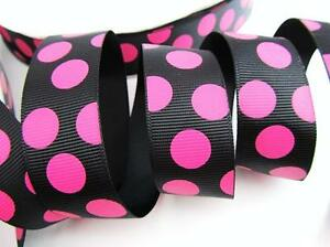 "5 yards 7//8/""  BROWN PINK POLKA DOT GROSGRAIN RIBBON"