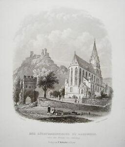 Obersesel-Liebfrauenkirche-Burg-am-Rhein-echter-alter-Stahlstich-1845