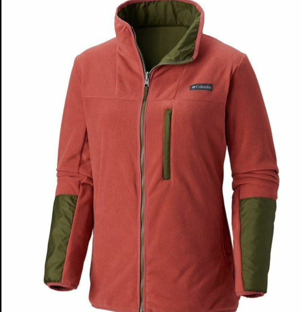 Columbia Women Mountain Side Reversible Fleece Jacket Small Rose/ Nori