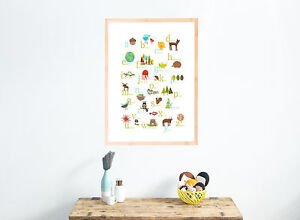 Nursery-Decor-Wall-Art-Decor-Nature-Themed-Multi-Language-Alphabet-Prints