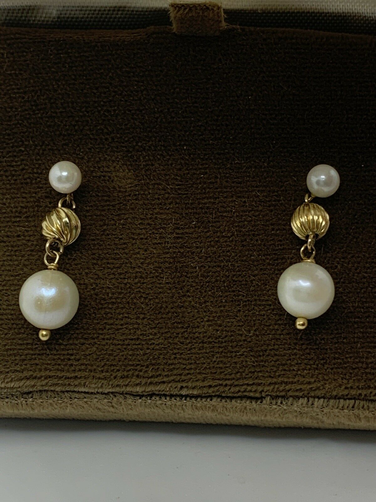 vintage 14k gold pearl and gold earrings - image 5