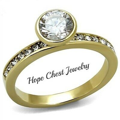 WOMEN'S GOLD TONE STAINLESS STEEL BEZEL SETTING CZ ENGAGEMENT RING SIZE 5-9