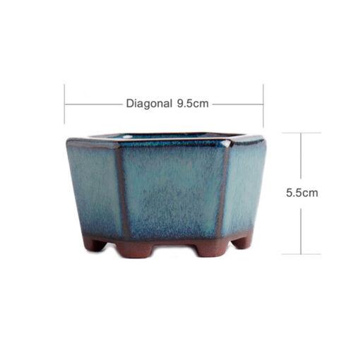 Glazed Hexagon Chinese Yixing Mame Bonsai Pot 9.5x9.5x5.5cm