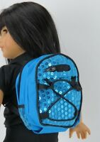 """Teal Blue Backpack Bookbag Sequins Fits 18"""" American Girl Boy Doll Clothes"""