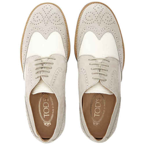 Tods Men/'s Classic Brogue Shoes in Stone//White