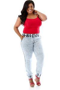 df5a4561c42 Plus Size Light Acid Wash Denim Running Chic Jogger Pocket Pants ...