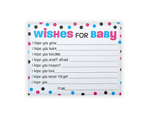 Wishes For Baby Cards Boy Or Girl Baby Shower Wish Card Pac Of 25