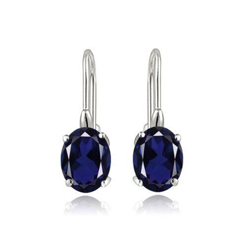 Sterling Silver 2.3 Ct Créé Saphir Bleu Ovale Leverback Boucles D/'oreilles