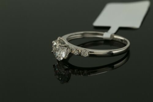1ct Round Cut Accent Solitaire Diamond Engagement Ring 14 kt White Gold Finish