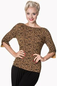 Women-039-s-Leopard-Vintage-50-039-s-Retro-Rockabilly-Knitted-Rocky-Top-BANNED-Apparel