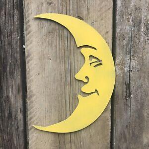 Signo de metal oxidado Yellow Moon Rústico Casa función de decoración de jardín Decoración