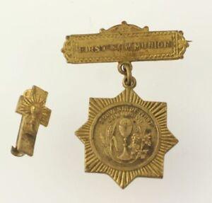Primera-Comunion-Pin-Vintage-Cruz-Estrella-Insignia-Recuerdo-Recuerdo-Catolica