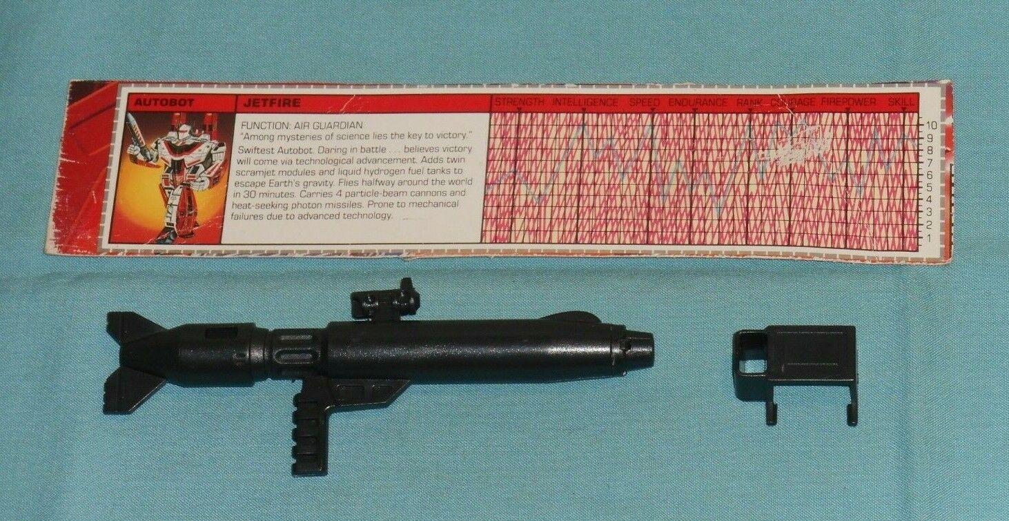 Original G1 Transformers JETFIRE GUN + MOUNTING POD gun clip + TECH SPEC lot