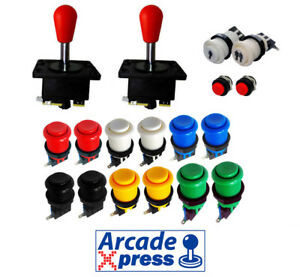 Kit Joystick Arcade X2 Spanish Español Joysticks Rojos 12 Botones 2