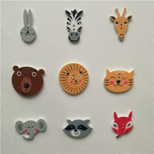 50pc Mixed Animals 2Hole Wooden Buttons for Scrapbooking Crafts DIY Baby Childre