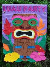 """LUAU PARTY"" Totem, hibiscus flower, Hawaiian Appliqued decorative Garden Flag"