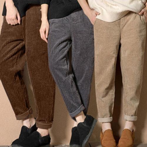 Women Harem Corduroy Pants Casual Winter High Waist Straight Trousers Pocket