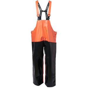 Viking Rubber Reinforced Bib & Brace Trousers Fishing Farming Waterproof Orange