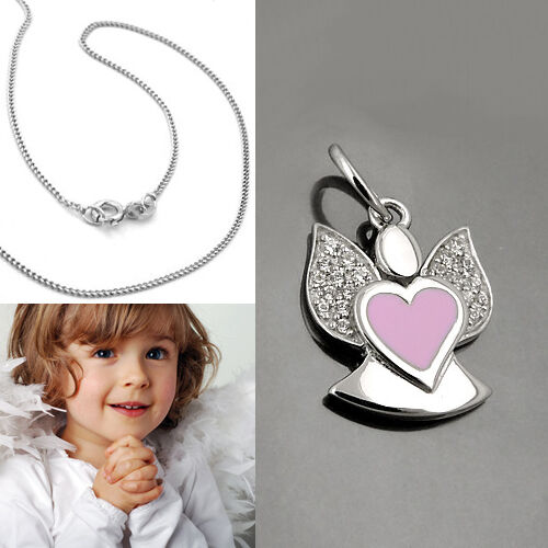 Mädchen Engel Herz pink Anhänger weiße Zirkonia Steine mit Kette Silber 925