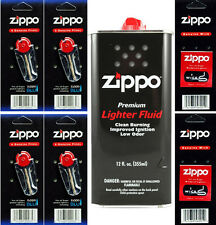 12 Ounce Fuel Fluid & 4 Packs Flint (24 Flint) & 2 Wicks for Zippo Lighters