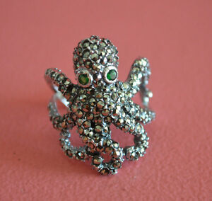 925-Sterling-Silver-Marcasite-Giant-Octopus-Ring-Band-Squid-Octopus-Ring-NEW