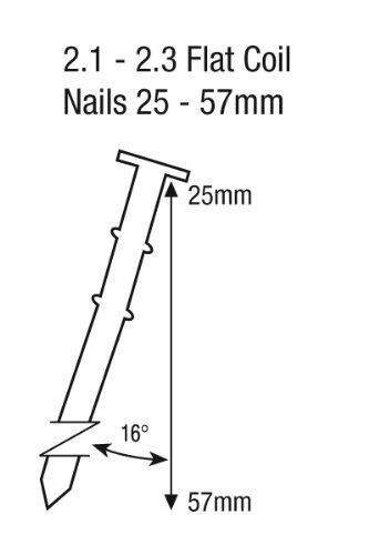 TACWISE GCN57P AIR COIL NAILER FITS 2.1 /& 2.3 GAUGE NAILS FROM 25-57mm