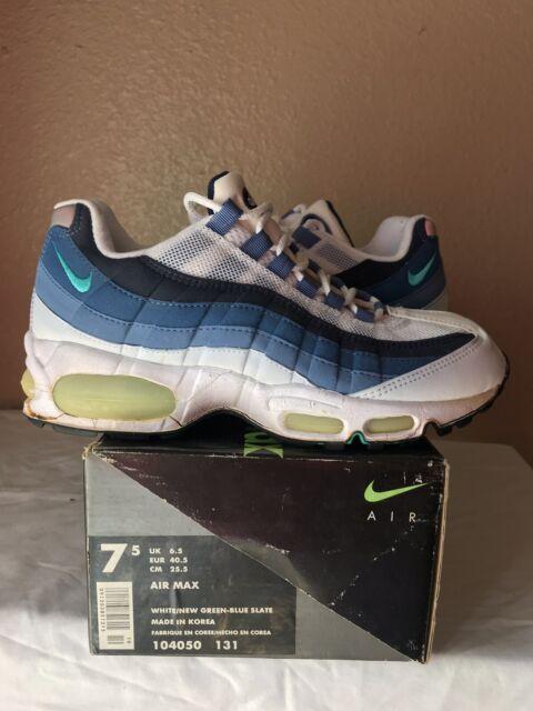 DS 1995 Nike Air Max 95 OG Original Size 7.5 White New Green Blue Slate 99 1999