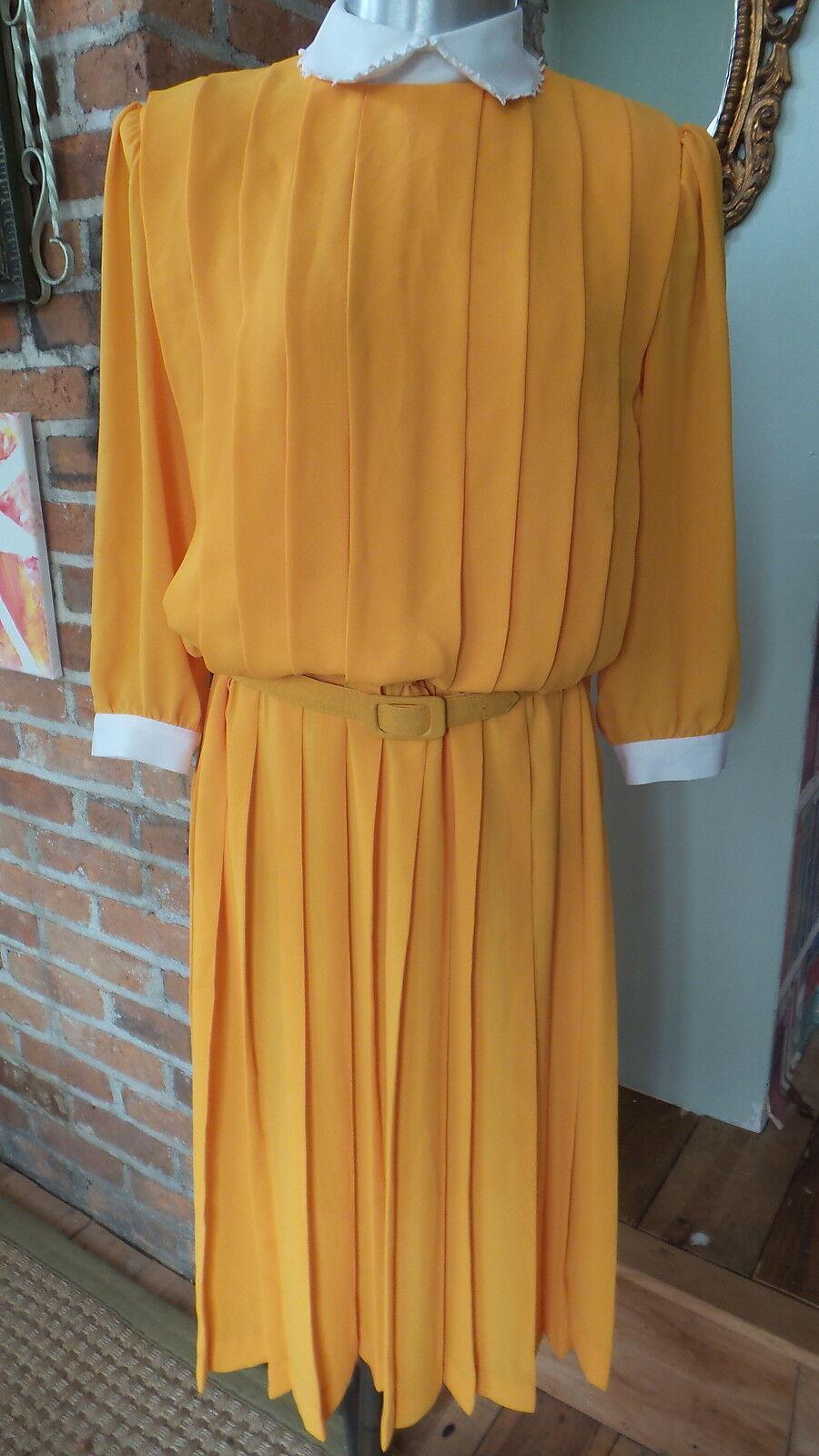 Vtg Dress Secretary pleated front & skirt W  BELT White Trim Sz 8 3 4 Sleeves