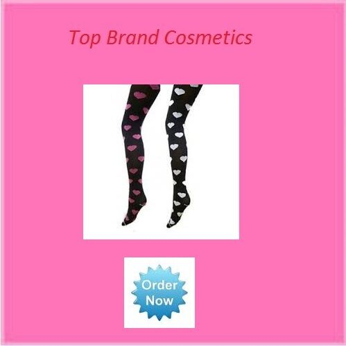 Goldenlegs Opaque Black Tights with White Heart Pattern One Size Regular NEW