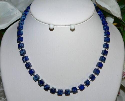 Kette Halskette Collier Edelstein Schmuck JASPIS Würfel 6mm blau dunkelblau 213b