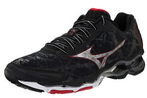 Mizuno-Wave-Creation-16-Men-039-s-Size-9-Medium-Width-Running-Shoes-Black-Silver-Red