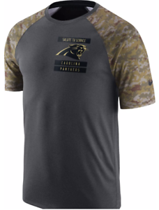 new style 9f793 edc85 Details about Nike Dri Fit Carolina Panthers Salute to Service Camo Raglan  Top shirt NFL men's